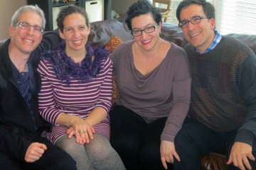 Israelis Assaf and Renana Harel of Bellbrook (L) and Pam and Andy Schwartz of Oakwood became fast friends, and then discovered they were family