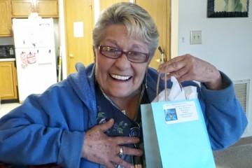 Elaine Kramer was one of 90 seniors to receive a JFS Chanukah gift bag in December