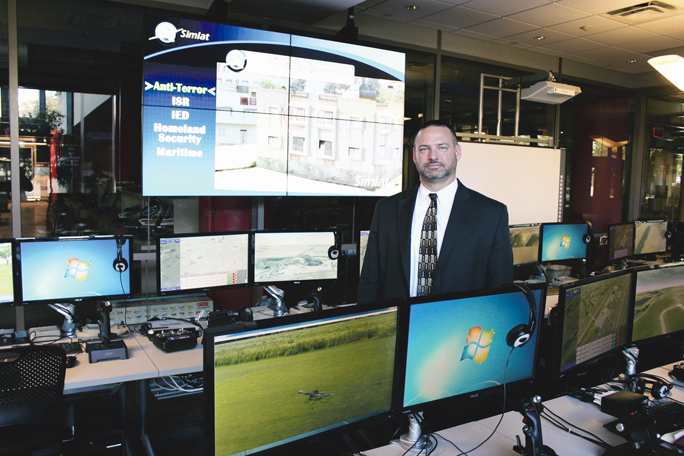 Sinclair Community College Assistant Vice President of Workforce Development Jeffrey Miller at Sinclair's National UAS Training and Certification Center, which relies on Simlat training systems