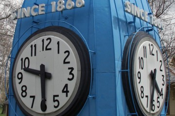 Callahan Building Clock on display at Carillon Park