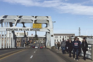 Teens on the Temple Beth Or/Temple Israel-led Etgar 36 Civil Rights Journey cross the Edmund Pettus Bridge in Selma, Ala.