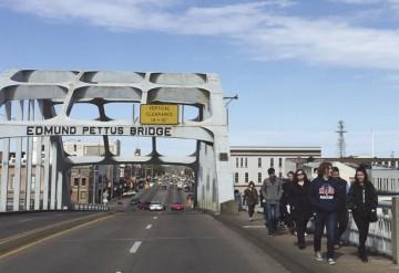 Teens on the Temple Beth Or/Temple Israel-led Etgar 36 Civil Rights Journey cross the Edmund Pettus Bridge in Selma, Ala.