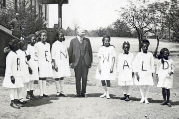 Julius Rosenwald with students from a Rosenwald school (Fisk University, Franklin Library, Special Collections)
