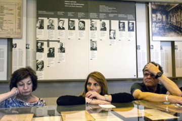 Beth Adelman (L), Julie Liss-Katz, and Irv Moscowitz at the site of the Wannsee Conference near Berlin, held Jan. 20, 1942 by Nazi and German government officials to coordinate the implementation of the Final Solution