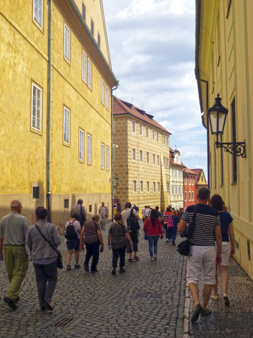Jewish Federation's mission tours the Prague Castle complex. Rachel Haug Gilbert