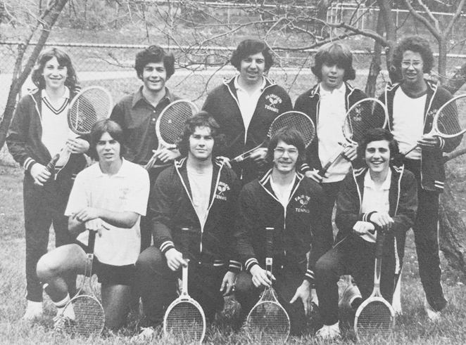 Fairview High School's 1974 varsity tennis team. All but one on the team were Jewish. Collection of Mike Emoff.