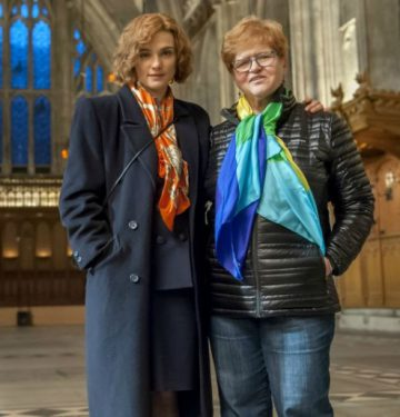 Deborah Lipstadt (R) and actor Rachel Weisz, who plays the historian in Denial. Liam Daniel/Beeker St.