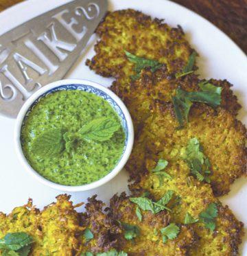 Indian Spiced Cauliflower Latkes with Cilantro Chutney