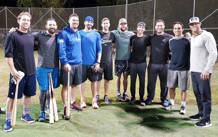 Major League Baseball players visit Israel (L to R): Ty Kelly, Cody Decker, Ryan Lavarnway, Josh Zeid, Jon Moscot, Ike Davis, Corey Baker, Jeremy Bleich, Sam Fuld and Gabe Kapler. Photo: Margo Sugarman.