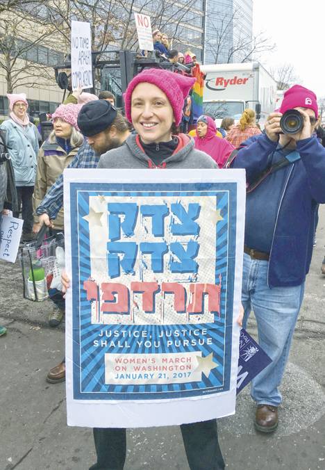Masha Kisel of Dayton at the Women's March on Washington, Jan. 21