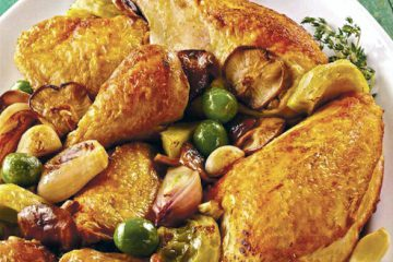 Roasted Chicken with Shiitake Mushrooms and Artichokes