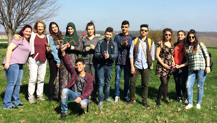 Sarah Adams (L), Dr. Marti Moody Jacobs (2nd from L), and Arab-Israeli students from Deir al-Assad visit Huffman Prairie