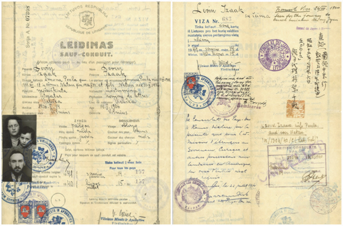 The endorsements of Chiune Sugihara and Jan Zwartendijk, the Japanese and Dutch consuls, respectively, in Kovno, Lithuania, appear on the Leidimas, or travel document, that allowed Isaac Lewin and his family to escape Lithuania in 1940. Nathan Lewin, now a prominent attorney, is the 4-year-old boy in the arms of his mother, Peppy Sternheim Lewin. Courtesy of Alyza D. Lewin.