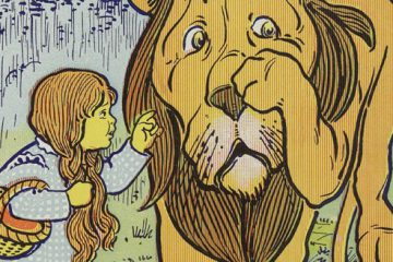 Dorothy meets the Cowardly Lion, from the first edition of The Wonderful Wizard of Oz, illustrated by W.W. Denslow.