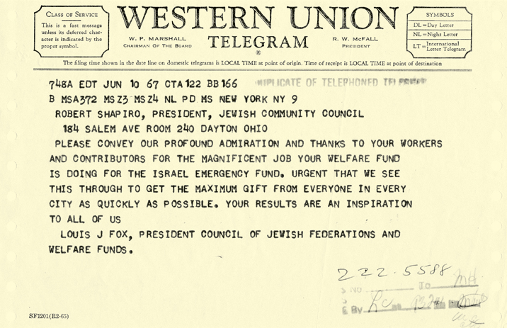 Telegram from the Council of Jewish Federations thanking Dayton Jewish Community Council for its contributions to Six-Day War Israel Emergency Campaign. Jewish Federation of Greater Dayton.