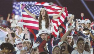 Members of Team USA at the opening ceremonies of the 20th World Maccabiah Games, Jerusalem, July 6. Photo: Maccabi USA.