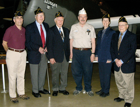 JWV Post 587 members who volunteer at the National Museum of the U.S. Air Force (L to R): Bert Cream, Joe Bettman, Ira Segalewitz, Dept. of Ohio Commander Steve Markman, Leslie Buerki, and Henry Guggenheimer. Photo: JWV Post 587.