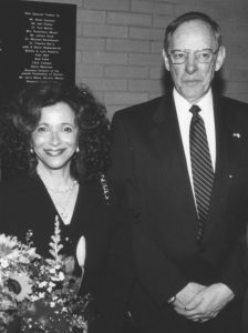 Prejudice and Memory: A Holocaust Exhibit Curator Renate Frydman with then U.S. Air Force Museum Dir. Maj. Gen. Charles Metcalf (Ret.) when he announced the exhibit would be on permanent display at the museum, April 28, 1999. Photo: Marshall Weiss