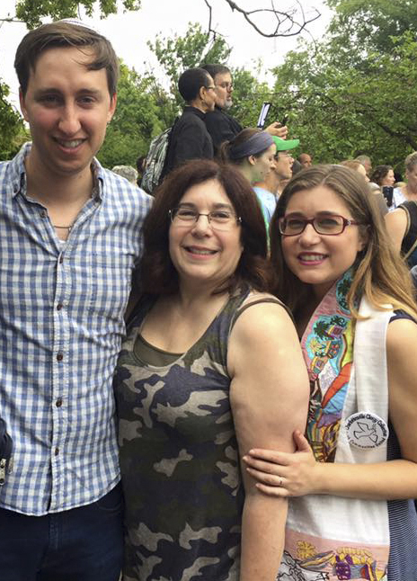 On the day of the Unite the Right hate rally, Aug. 12 in Charlottesville, Va. (R to L): Cong. Beth Israel Rabbi Educator Rachel Schmelkin, her mother, Ellen Drake, and Rachel's husband, Geoff . Submitted photo.