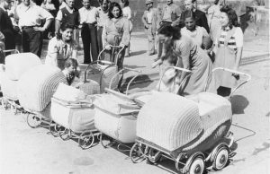Jewish mothers with baby carriages at the Landsberg Displaced Persons camp. January 1, 1947. USHMM.