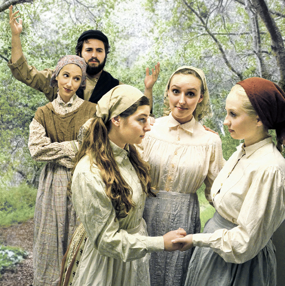 Cast members of Wright State's Fiddler on the Roof (L to R): Megan Valle as Golde, Joshua Beasley as Tevye, Kayli Modell as Tzeitel, Danielle Bessler as Hodel, and Emma Buchanan as Chava. Photo: Stuart McDowell.
