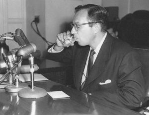 Screenwriter Carl Foreman at HUAC's Sept. 24, 1951 public hearing. Photo: Eve Williams-Jones/Writers Guild Foundation.