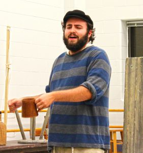 Joshua Beasley gets his Tevye on at a run-through of Act I. Photo: Marshall Weiss.