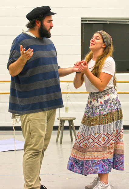 Joshua Beasley as Tevye and Kayli Modell as Tzeitel rehearse a scene from Wright State's Fiddler on the Roof. Photo: Marshall Weiss.