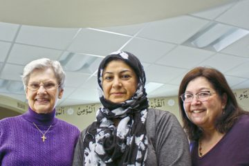 Women's Interfaith Discussion organizers (L to R) Sister Jeanette Buehler, Bushra Shahid, and Phyllis Pavlofsky Allen at the Dayton Fazl-I-Umar Mosque. Photo: Marshall Weiss.