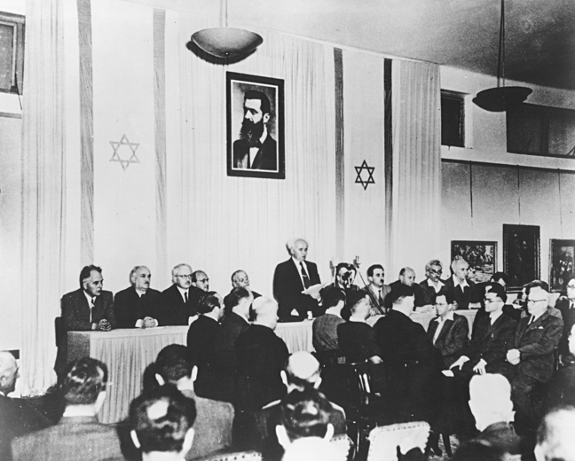 Ben-Gurion reads Israel's Declaration of Independence, May 14, 1948. GPO.