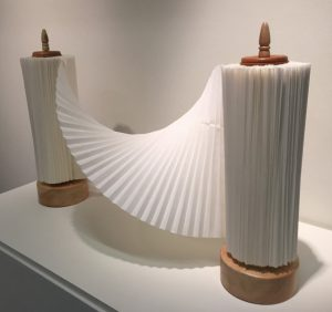 The Twisted Holy Scroll is one of three works by origami artist Miri Golan on view with The Dayton Art Institute's Above the Fold exhibition