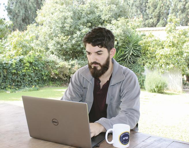 Lazer Mangel, 24, of Tel Aviv, works at a 'startup for startups' in Herzliya