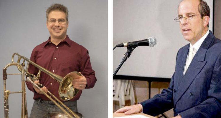Left: Rich Begel, founder of the Miami Valley Klezmer Ensemble. Right: Veteran Israeli broadcast journalist David Ze'ev Jablinowitz.