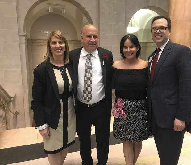 Celebrating the dedication of the Mimi and Stuart Rose Auditorium at the Dayton Art Institute on May 9: (L to R) DAI Board Chair Julie Liss-Katz, Stuart and Mimi Rose, and DAI Director and CEO Michael R. Roediger. Photo: DAI.