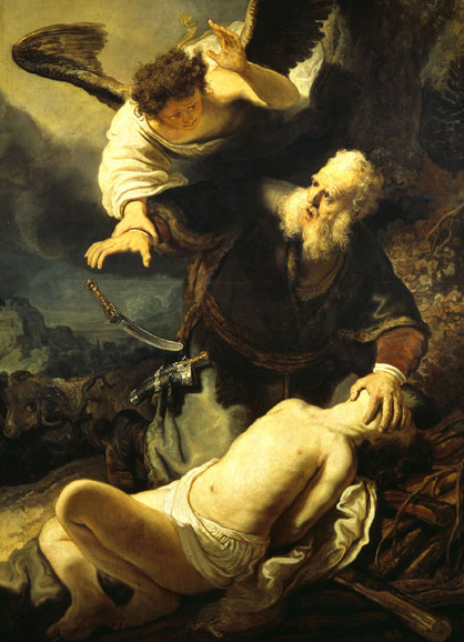 An Angel Prevents the Sacrifice of Isaac, Rembrandt, circa 1635.