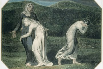 Naomi entreating Ruth and Orpah to return to the land of Moab by William Blake, 1795 .