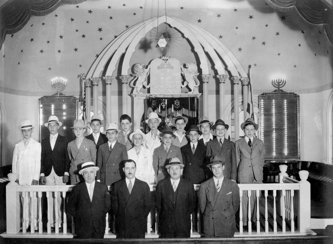 The book Jewish Community of Dayton features more than 200 images, including this portrait of the combined Beth Abraham/Beth Jacob Bar Mitzvah Class of 1937-38 shown on the bima (stage) at Beth Jacob. Photo: Beth Abraham Synagogue.