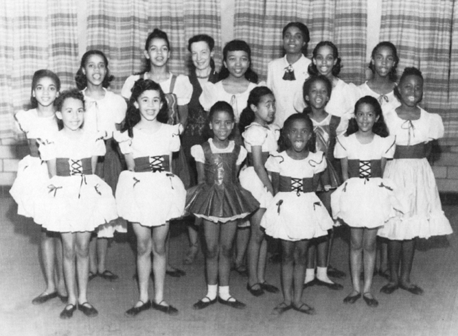 'Miss Jo,' Josephine Schwarz (back, 4th from L) with her students at the Linden Center Dance School in the late 1940s, including future DCDC founder Jeraldyne Blunden (back, R), and her sister, Carol Ann Shockley (front, 4th from L). Photo: DCDC.