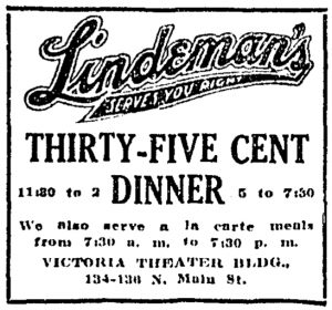 A 1912 Dayton Daily News ad for Lindeman's restaurant, located at a Victoria Theater storefront. Cox Media Group.