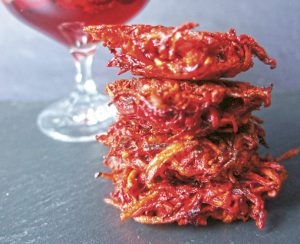 Beet + Sweet Potato Latkes