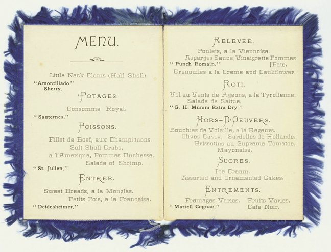 The menu for the Treyfa Banquet, held to honor delegates of the Union of American Hebrew Congregations, July 11, 1883, shows that no pork was served — although diners could eat clams, crab, frog, and shrimp, among other non-kosher items. Jacob Rader Marcus Center of the American Jewish Archives.