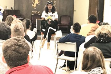 Titi Aynaw, Miss Israel 2013, shares her story with students at Miami University's Hillel in Oxford, Nov. 6