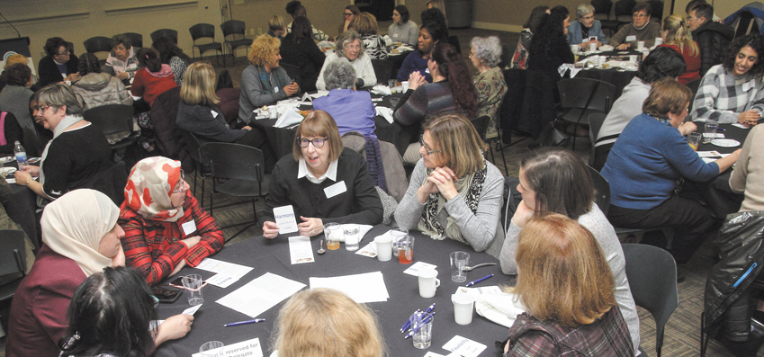 Florence Spitzmiller of Dayton talks about the value of harmony with women of various religions from across the Miami Valley and Israel's Western Galilee Region, Nov. 14 at the Boonshoft CJCE. Photo: Peter Wine.