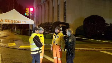 ZAKA search-and-rescue USA volunteers work with the FBI at the scene of a mass shooting at a Pittsburgh synagogue on Oct. 27, 2018. Credit: ZAKA Search and Rescue USA.