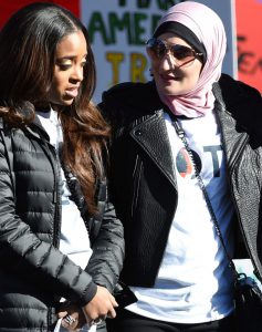 Tamika Mallory (L) and Linda Sarsour, leaders of the national Women's March. Photo: Ethan Miller/Getty Images.
