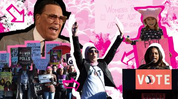 From top left, clockwise: Nation of Islam Leader Louis Farrakhan, a young participant at the 2018 Los Angeles Women's March, Tamika Mallory, Linda Sarsour and Women's March participants in Las Vegas in 2018. (JTA Collage/Farrakhan Photo: Monica Morgan/WireImage/Getty Images; Girl Photo: Chelsea Guglielmino/Getty Images; Mallory, Sarsour and protestors. Photos: Ethan Miller/Getty Images.