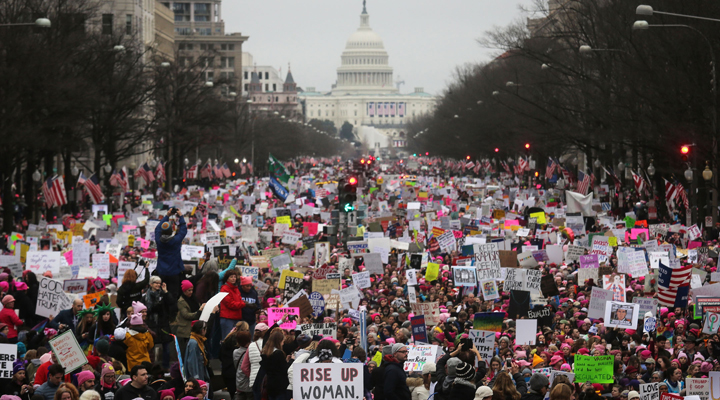 Protesters walk during the Women's March on Washington, Jan. 21, 2017. Photo: Mario Tama/Getty Images.