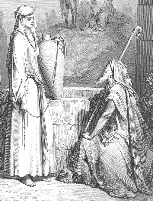 Detail from Eliezer and Rebekah at the Well, Gustave Doré, 1866