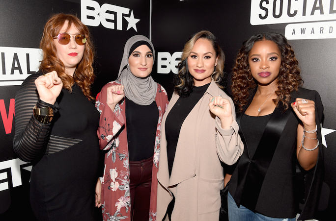 The organizers of the Women's March, from left to right, Bob Bland, Linda Sarsour, Carmen Perez and Tamika Mallory, at BET's Social Awards in Atlanta, Feb. 11, 2018. Photo: Paras Griffin/Getty Images for BET.