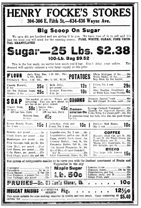 Weeks before Ohio entered Prohibition, Henry Focke's Stores, located in Dayton's Eastern European Jewish neighborhood along Wayne Avenue, included in this May 8, 1919 Dayton Daily News ad a sale on bulk orders of Muscat raisins (bottom), 'suitable for wine making.' Households were allowed to make up to 200 gallons of wine per year. Cox Media Group.